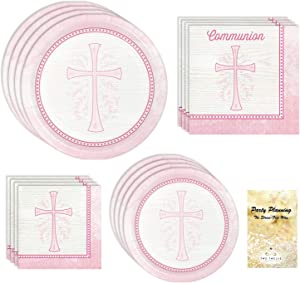 First Holy Communion Party Supplies, Divinity Pink, 16 Guests, 65 Pieces, Disposable Paper Dinnerware, Plate and Napkin Set