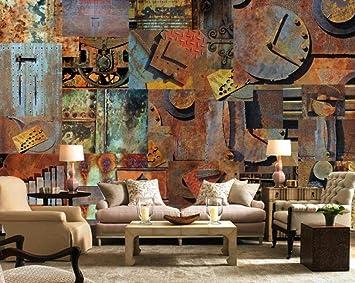 3d Wallpaper Tv Wall Decor Stickerr Rusty Iron Sheet Retro Nostalgia Modern Wall Paper Wall Stickers For Bedroom Decor Amazon Com