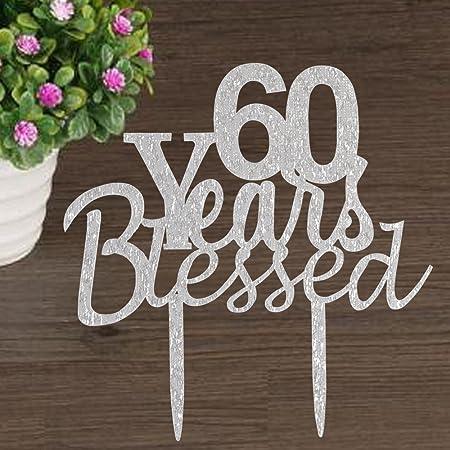 Decoración para tartas de 60 años con diseño de flores para ...
