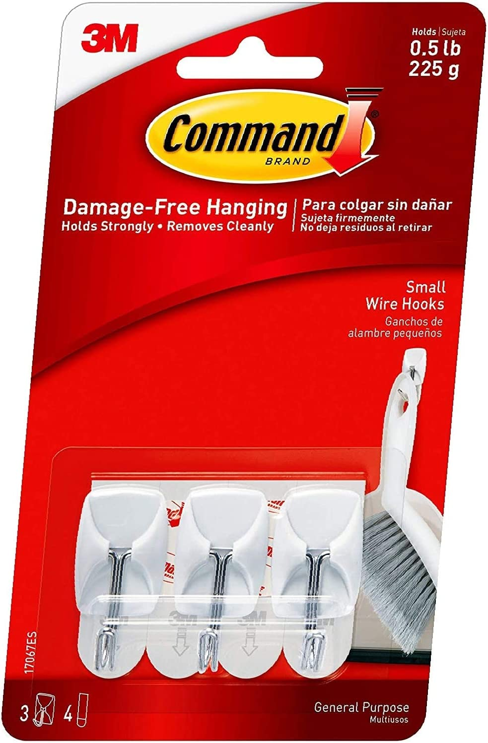 Small White 3-Hooks 1 Pack Command Wire Hooks