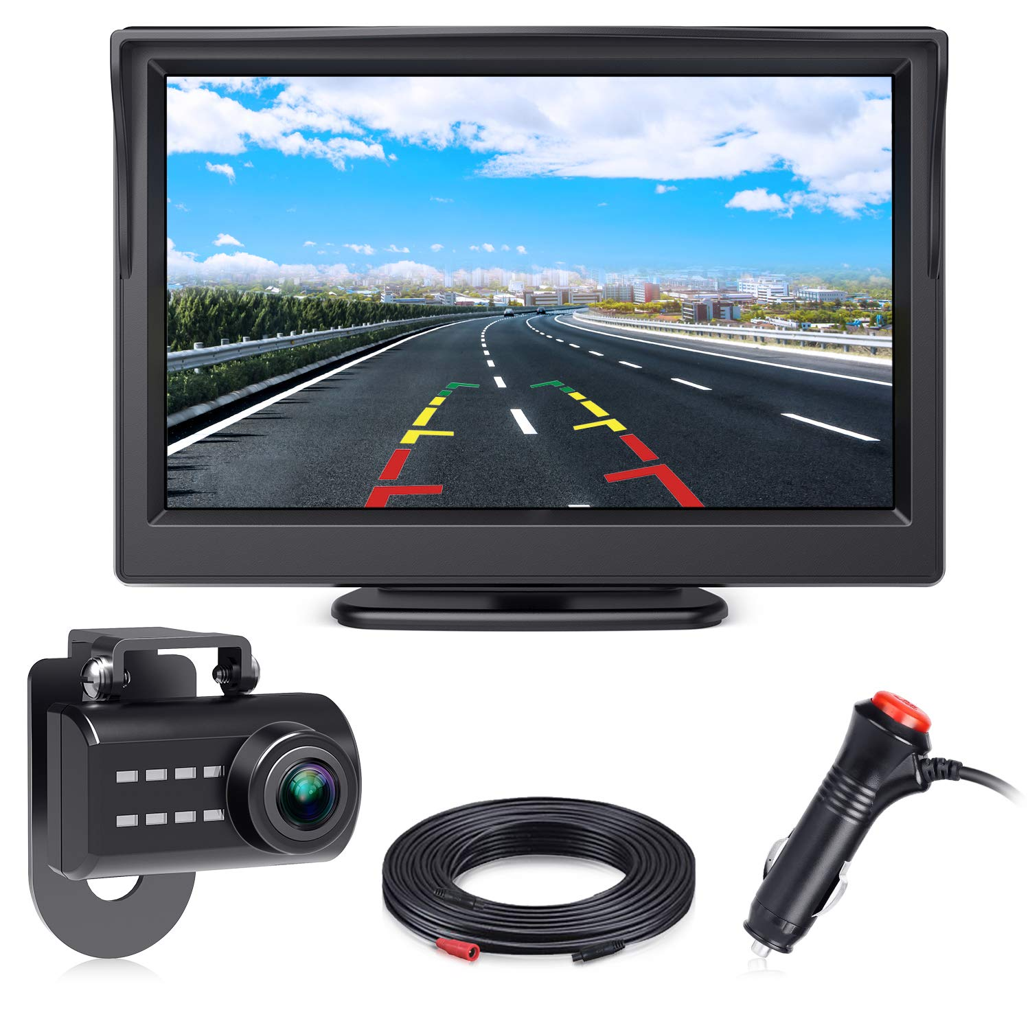Car Backup Camera and 4.3 LCD Rear View Monitor Kit 12V-24V Universal Wired Night Vision License Plate Camera Wide Angle with Parking Reverse System Waterproof Acepath USA 5558989820