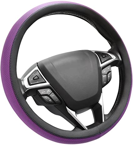 UNIVERSAL BLUE STEERING WHEEL COVER FAUX LEATHER 37 TO 39CM–VW 1