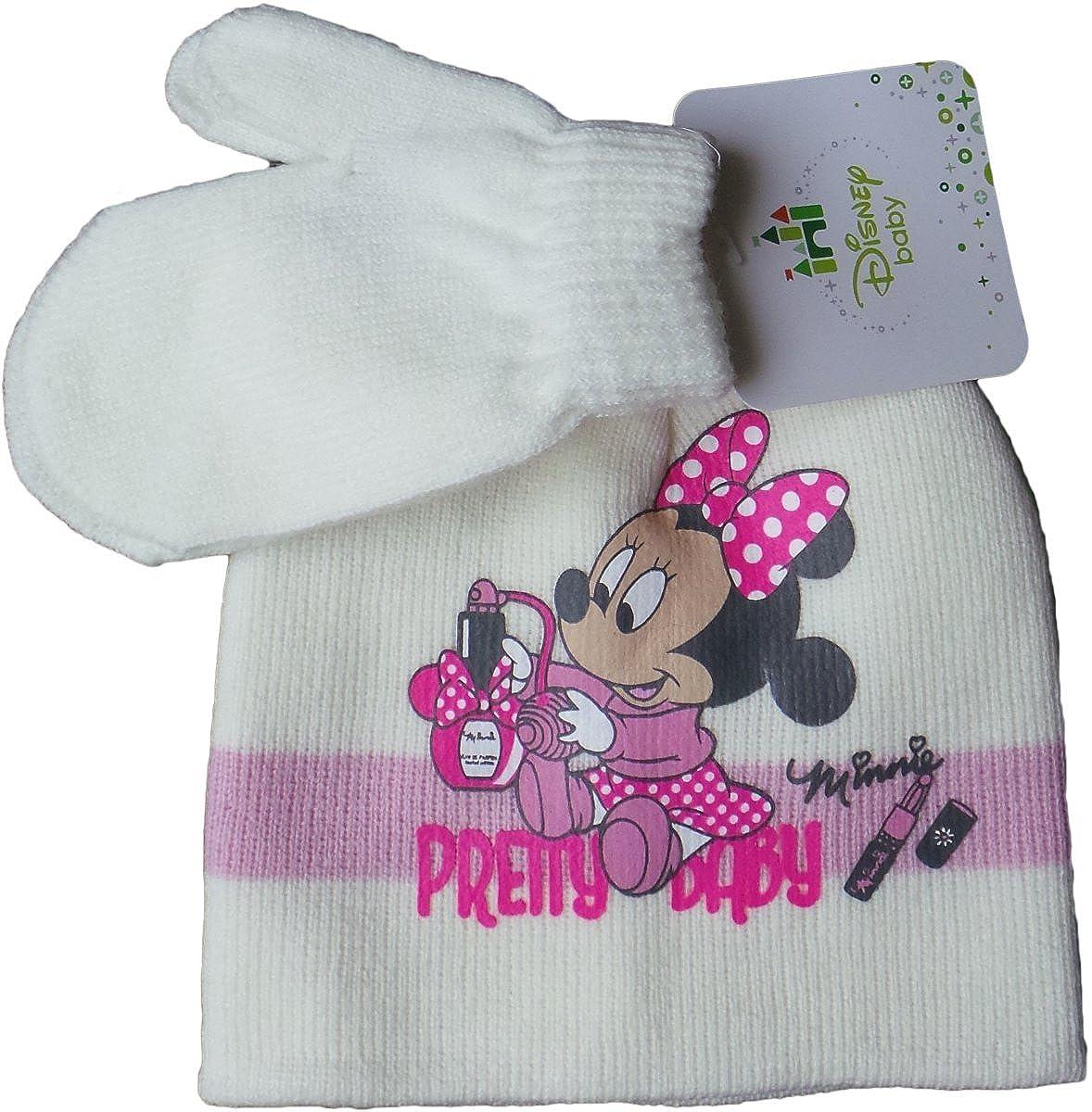Disney Minnie Maus - Baby/Kleinkind - Winterset Mütze und Handschuhe - Pretty Baby - Pink/Beige/Mehrfarbig