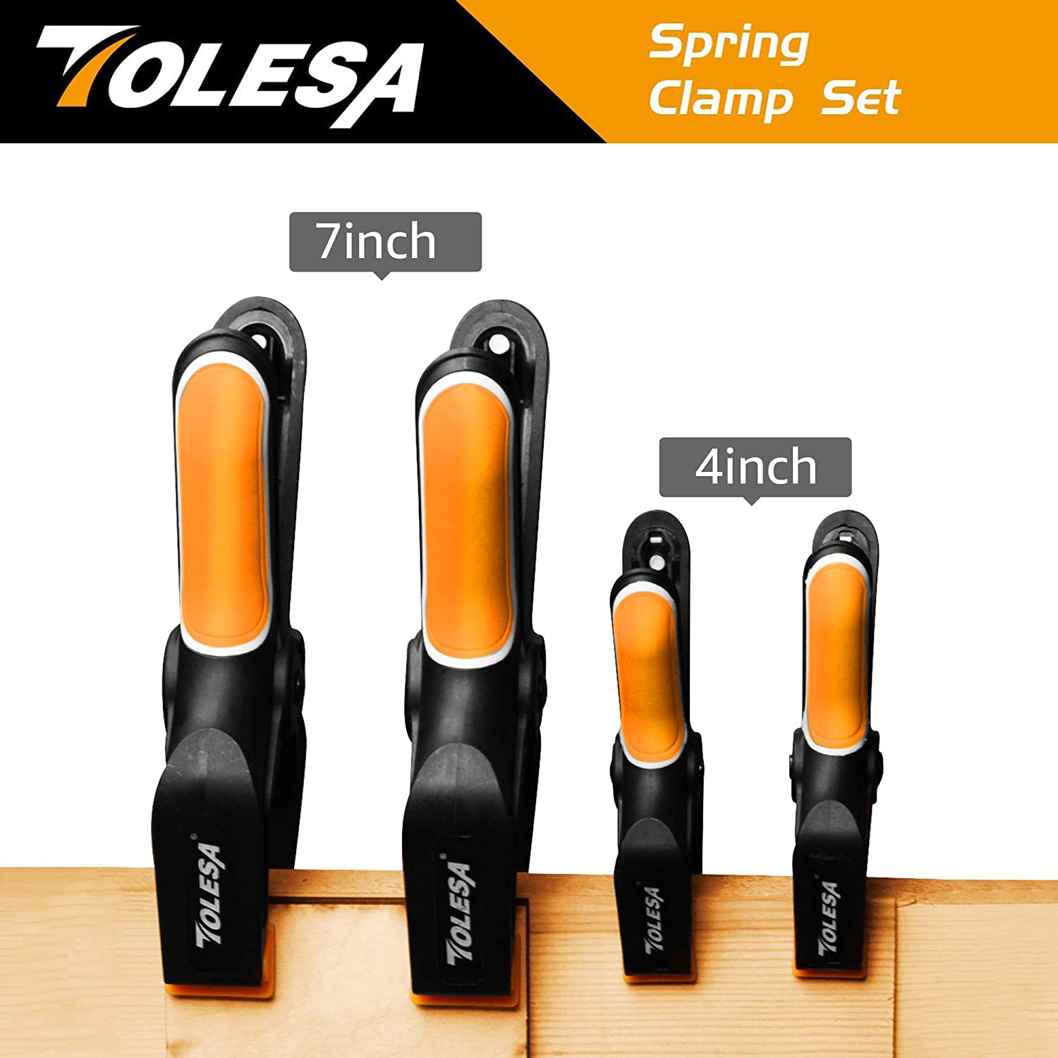 Clamping and Securing TOLESA 6-Piece Nylon Spring Clamp Set-2 Pcs 7 Inch Clamps 4 Pcs 4 Inch Clamps for Gluing