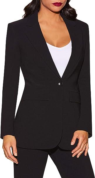 Women's Wrinkle-Resistant Classic One-Button Solid Color Boyfriend Knit Blazer