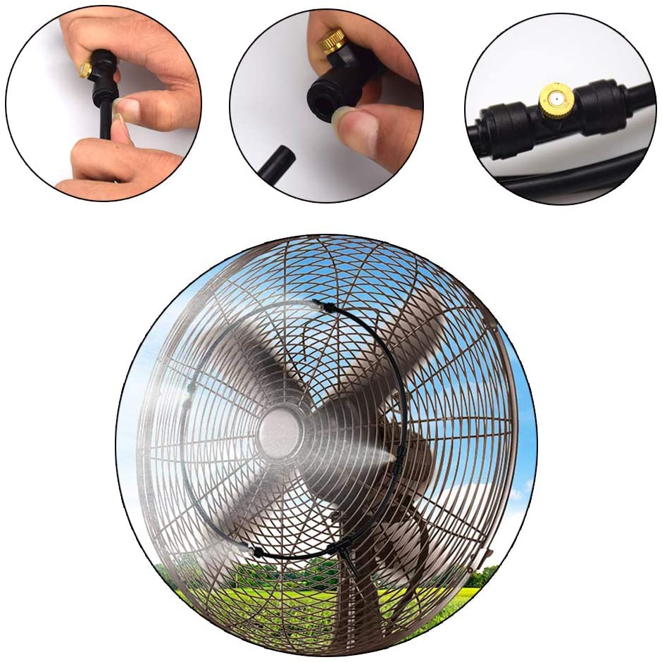 Connects to Any Outdoor Fan Portable Outdoor Brass Mist Nozzle Kits 12.5Inch+3M Water Misting Cooling System for Cool Patio Breeze Easy On The Wallet Blupure Misting Cooling System
