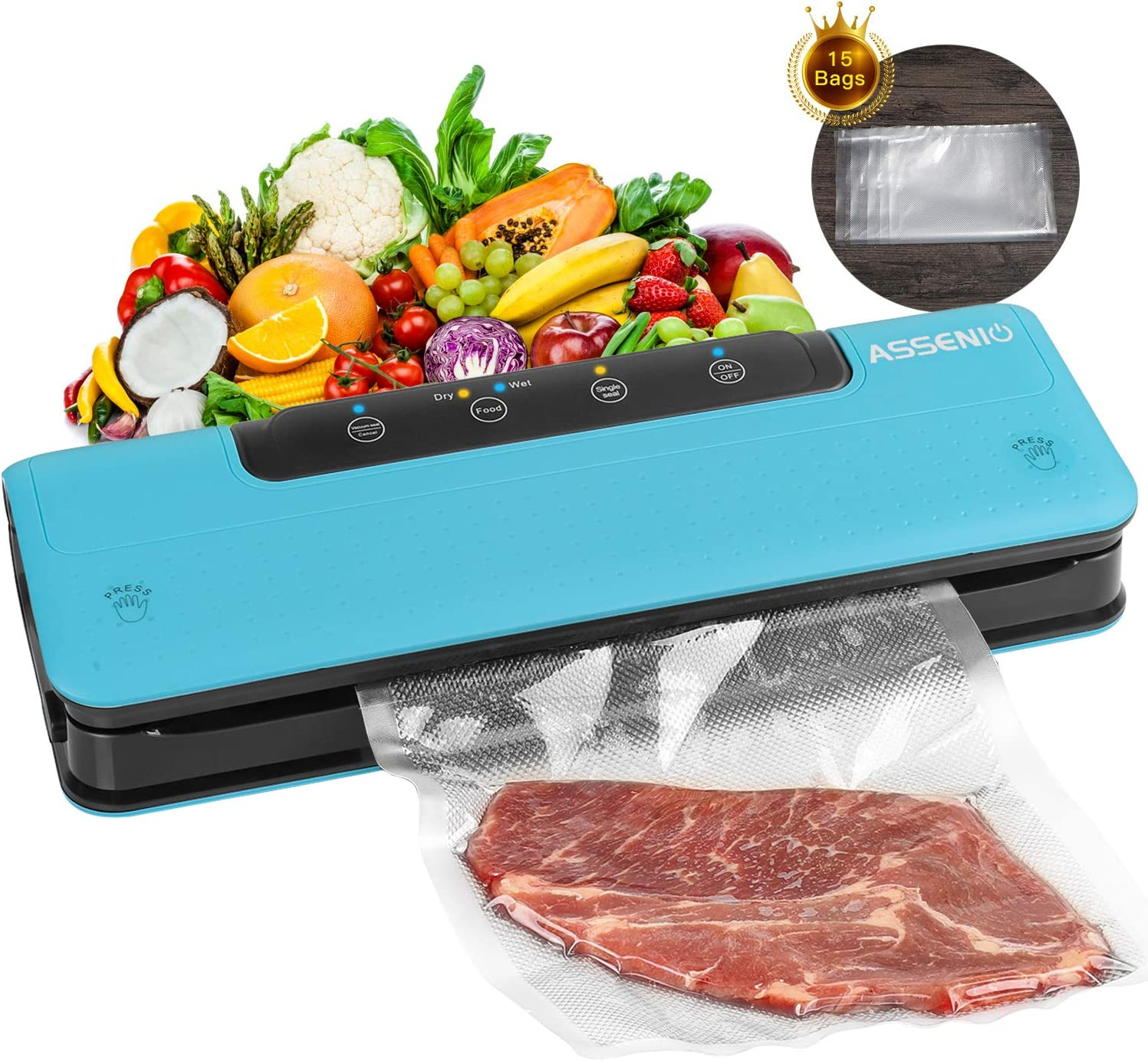 Vacuum Sealer Machine, ASSENIO Automatic Food Sealer with Dry & Moist Modes, Compact & Easy Clean,Bags (FDA-Certified)
