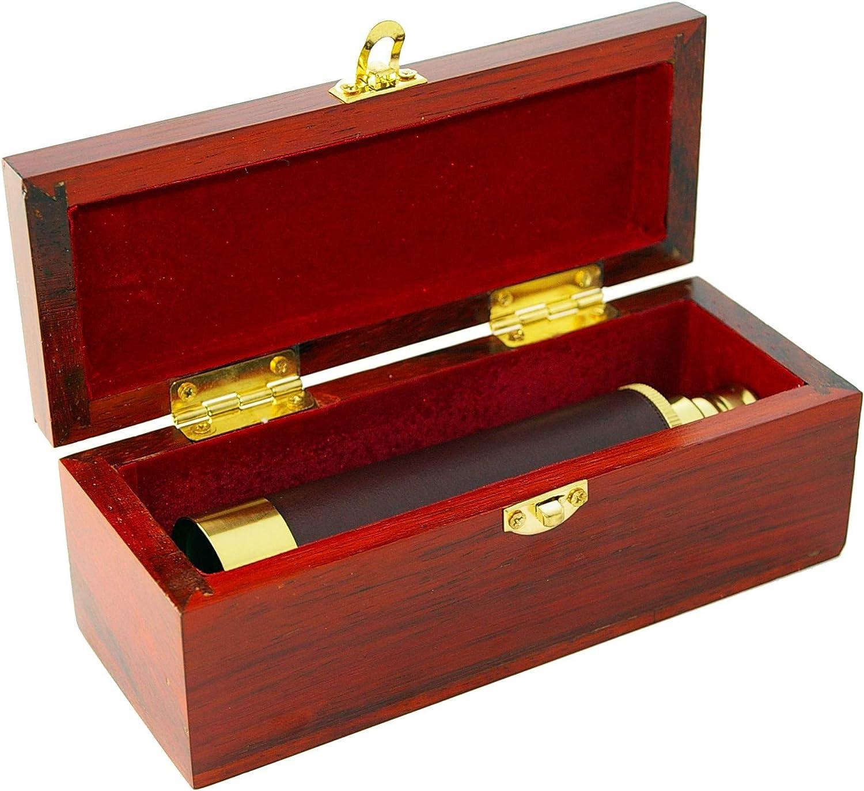 Omegon 25x30 brass pocket telescope with storage box made of mahagoni
