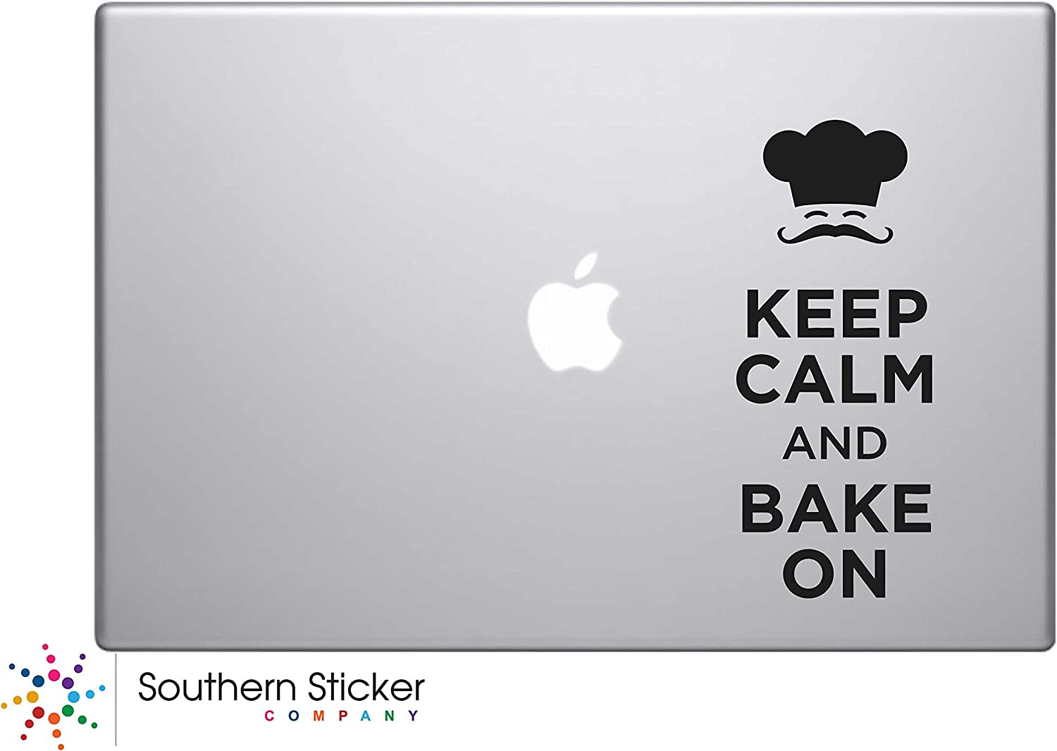 Keep Calm and Bake on Chef Vinyl Car Sticker Symbol Silhouette Keypad Track Pad Decal Laptop Skin Ipad Macbook Window Truck Motorcycle (Black)