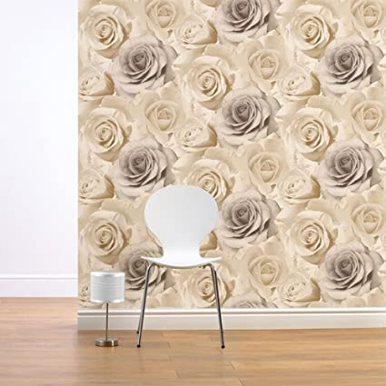 Muriva Madison Glitter Pearl Wallpaper 139524 Flower Floral Large Roses Cream