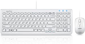 Perixx PERIDUO-303 Wired Compact Keyboard and Mouse Set, USB Interface, Piano White