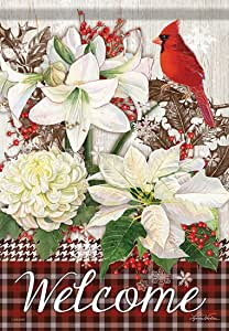 """Winter Blooms Welcome Floral House Flag Double Sided Holiday 28"""" x 40"""""""