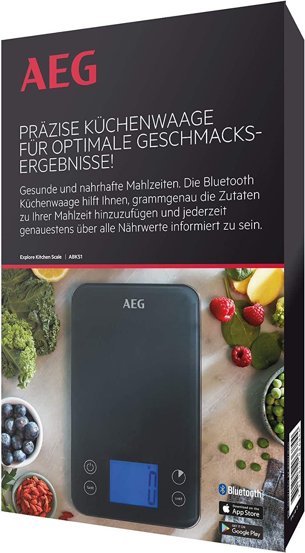 Electrolux ABKS1 Balance de cuisine num/érique avec fonction Bluetooth pour pesage pr/écis en plastique Gris