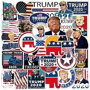 Trump Stickers and Decals 2020 | 50 PCS | Vinyl Waterproof Stickers for Laptop,Bumper,Skateboard,Water Bottles,Computer,Phone, Trump 2020 Bumper Stickers(Donald Trump-50)