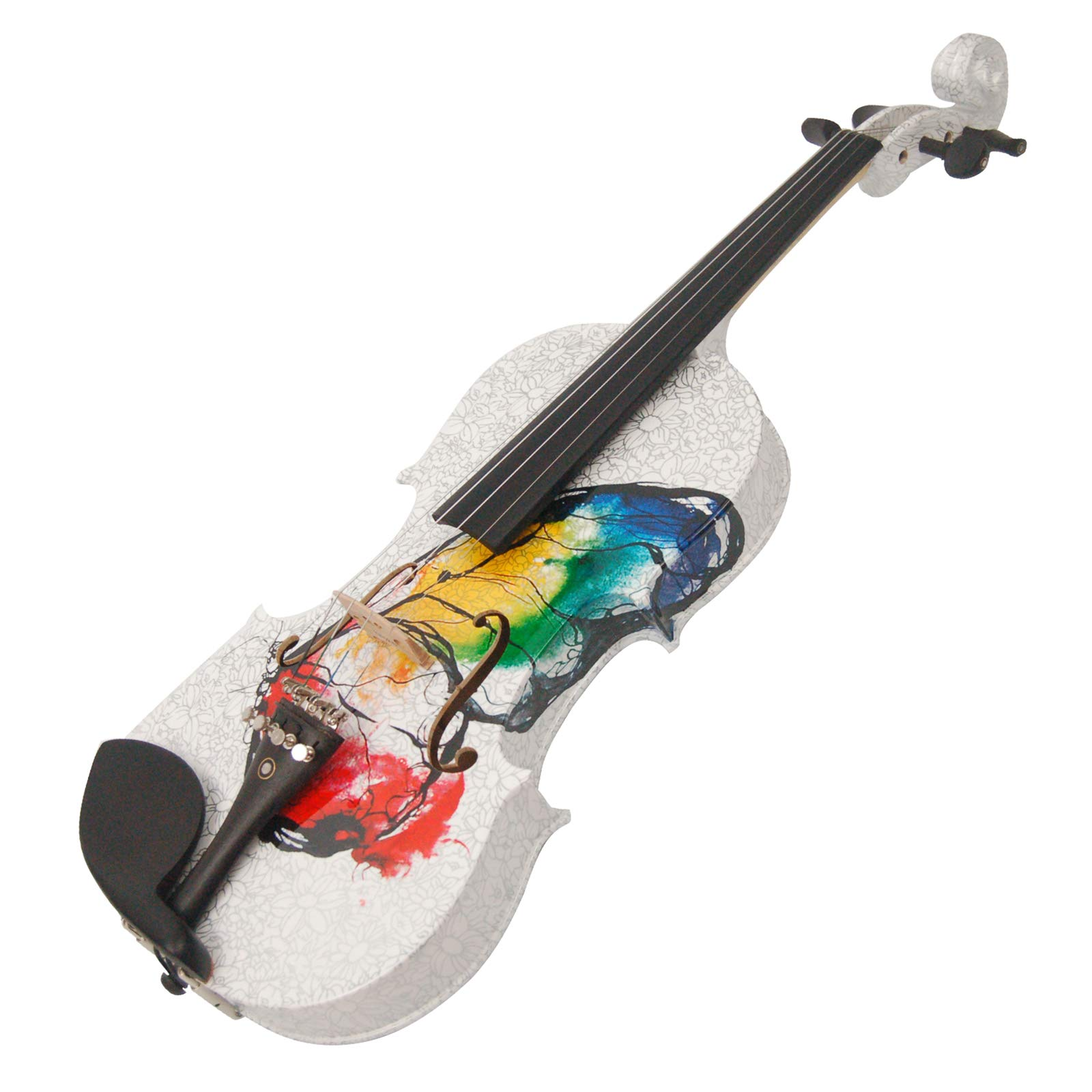 Kinglos 4/4 Butterfly Flower Colored Ebony Fitted Solid Wood Violin Kit with Case, Shoulder Rest, Bow, Rosin, Extra Bridge and Strings Full Size (NHS3002) by Kinglos (Image #3)