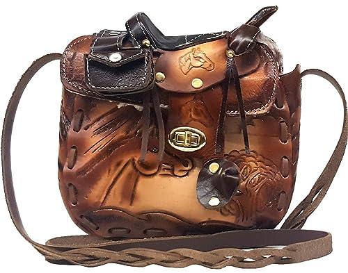 "Modestone Large Leather Cartera para Colgar del Hombro Decorative Saddle Shape 8"" x 8"""