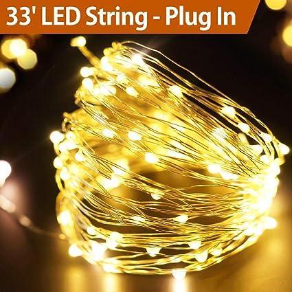 best service eaf9d d0011 Bright Zeal 33' FT Warm White LED Plug in String Lights with Timer (Ac  Adapter Included, 100 LEDs) - LED String Lights Bedroom Wedding  Decorations- ...