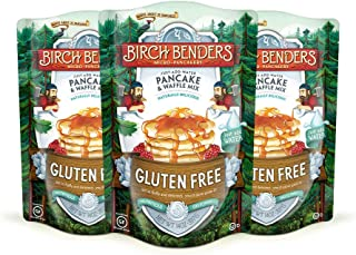 product image for Gluten-Free Pancake and Waffle Mix by Birch Benders, Made with Brown Rice Flour, Potato, Cassava, Almond, and Cane Sugar, Family Pack, Just Add Water, 42 oz. (Three 14 oz. packs)