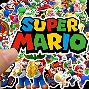 Super Mario Cartoon Waterproof Laptop Stickers Waterproof Skateboard Snowboard Car Bicycle Luggage Decal 50pcs Pack (Super Mario)