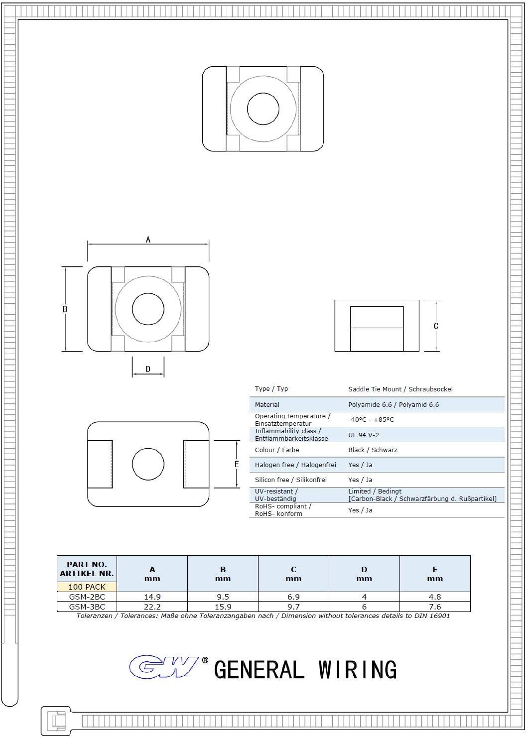 schwarz GW Kabelbinder-Technik Schraubsockel 14.9 x 9.5 x 6.9 mm 100 St/ück GSM-2BC