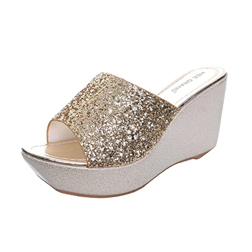 82087ca09a253e JACKY LUYI Yellow Tree Company Sequined Bling Women Wedges Slides ...