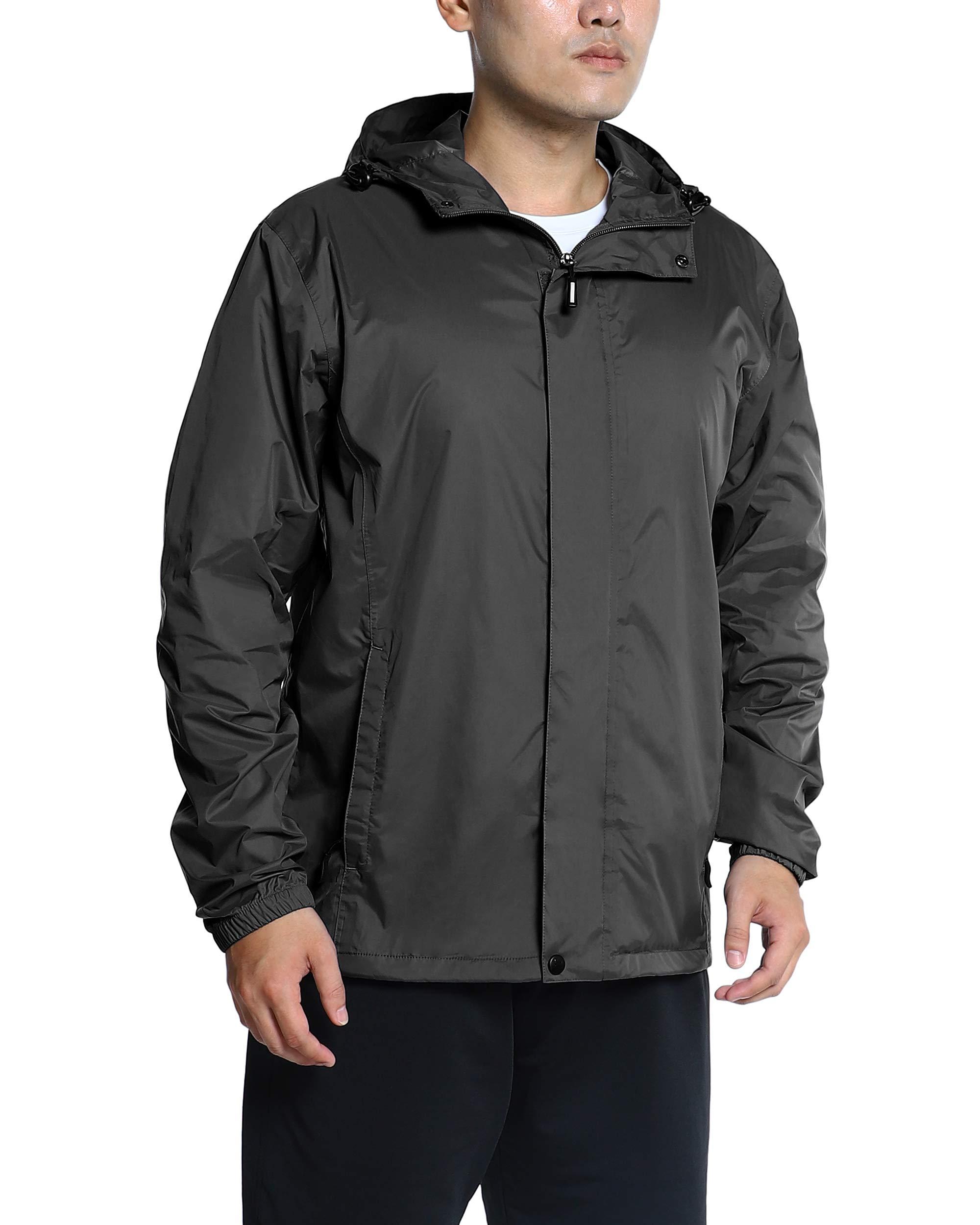 Outdoor Ventures Men's Caspar Lightweight Raincoat Waterproof Windbreaker Hooded Packable Rain Jacket Black by Outdoor Ventures