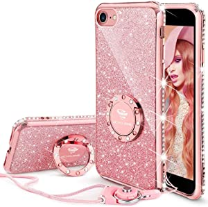 OCYCLONE iPhone SE 2020 Case, iPhone 7 Case, iPhone 8 Case, Cute Glitter Bling Diamond Rhinestone Bumper with Ring Kickstand, Women Girls Pink Soft Phone Case for 4.7 inch iPhone SE 2nd/8/7, Rose Gold