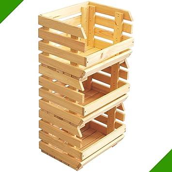 84 x 36 x 30 cm 3 cajas de madera apilados stiegen fruta caja de ...