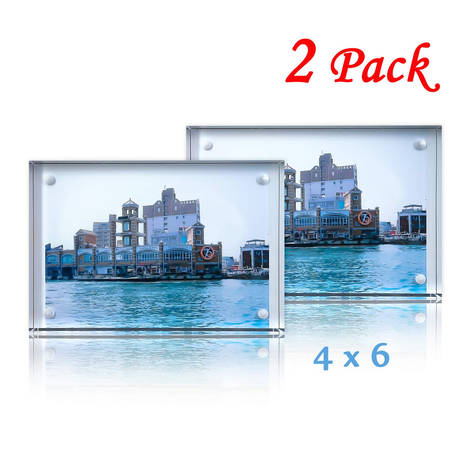 G & FAR Acrylic Picture Frame 4x6 inch Double Sided Desk Photo Frame (2-Pack) Display for Family,Baby,Friends,Pictures,Pet (15+15mm,Clean) Suitable for 4X6 inch