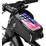 Bike Phone Case Bag, Waterproof Front Frame Bike Bag Top Tube Mount Bicycle Handlebar Cell Phone Touch Screen Large Capacity Cycling Pack Compatible with iPhone Xs Max X 8 Plus 7 6S Samsung S9