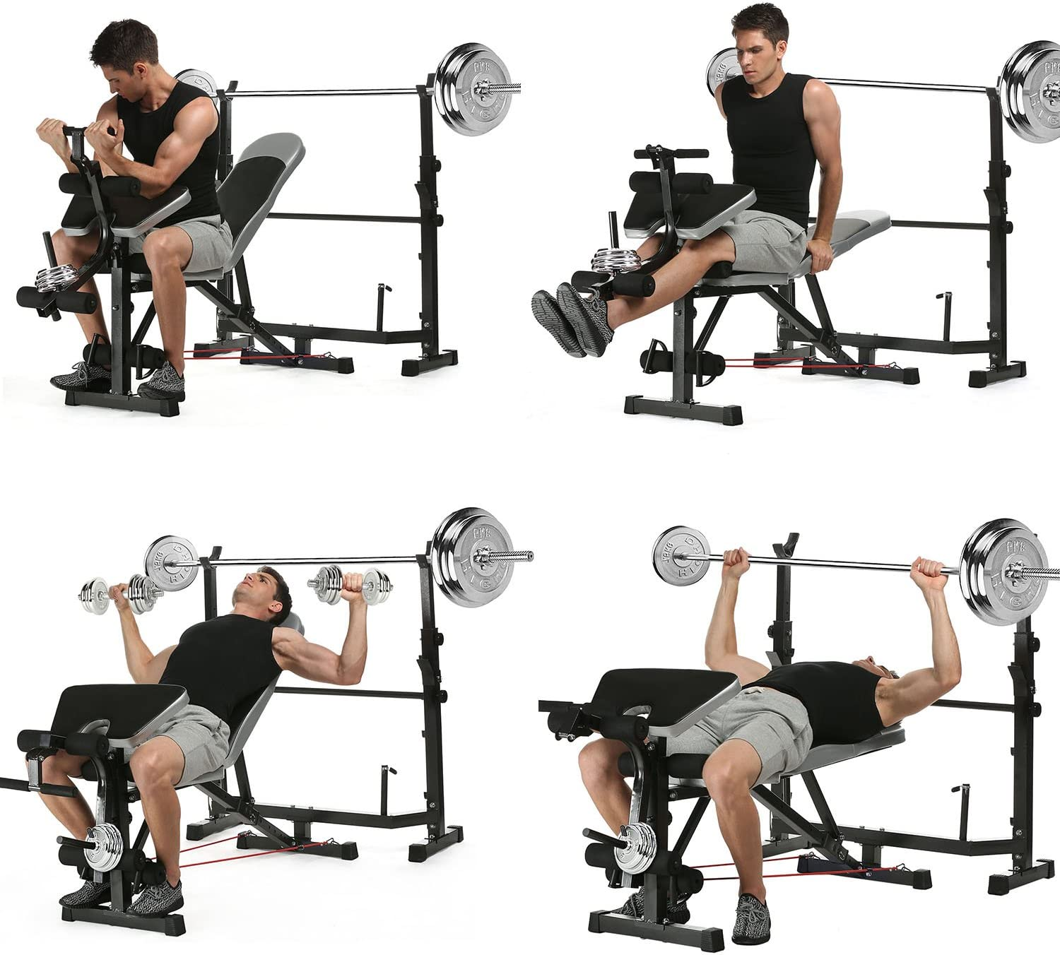Leg Developer for Indoor Exercise Multi-Function Adjustable Weight Bench with Preacher Curl Olympic Weight Bench