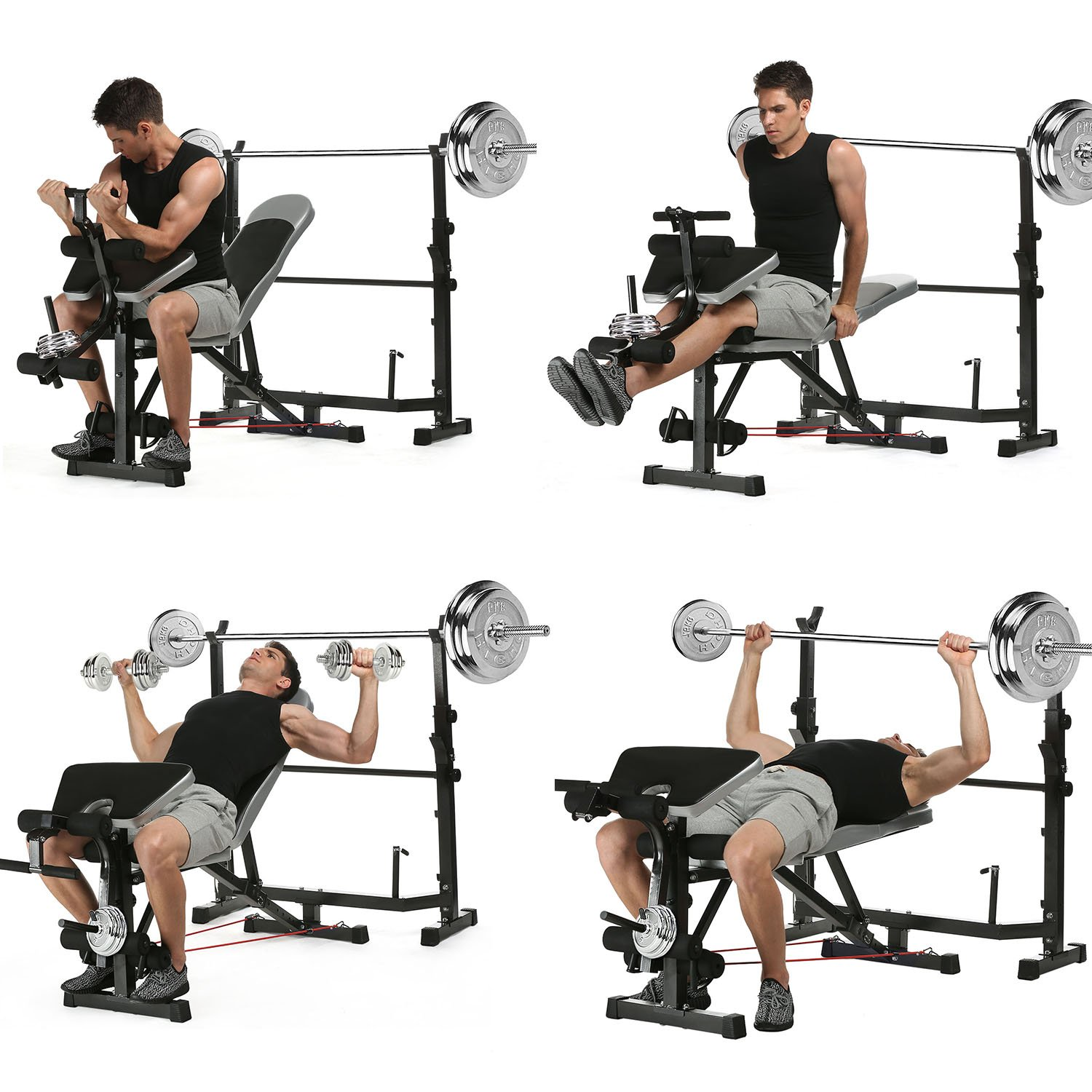 Olympic Weight Bench Mid-Width Bench Arms Height Adjustable Proffesional Fitness(US Stock) by Binxin