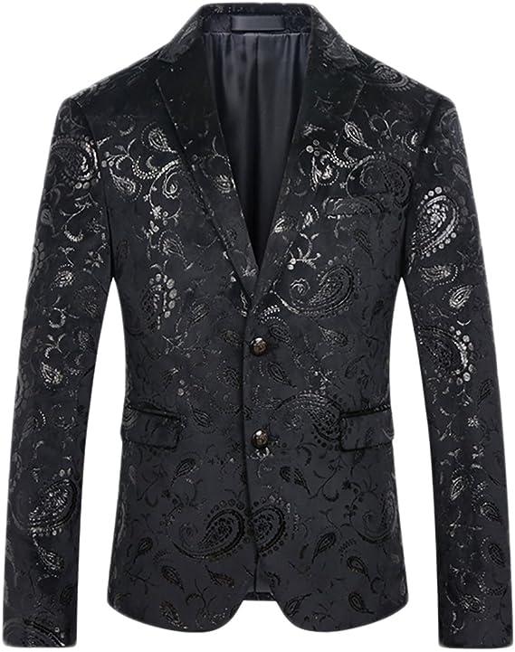 Mens Dress Floral Suit Notched Lapel Slim Fit Stylish Blazer Dress Suit