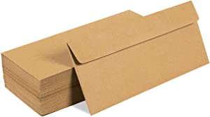 Juvale 100 Pack #10 Kraft Business Envelopes - Value Pack Square Flap Envelopes - 4 1/8 x 9 1/2 Inches - 100 Count, Brown