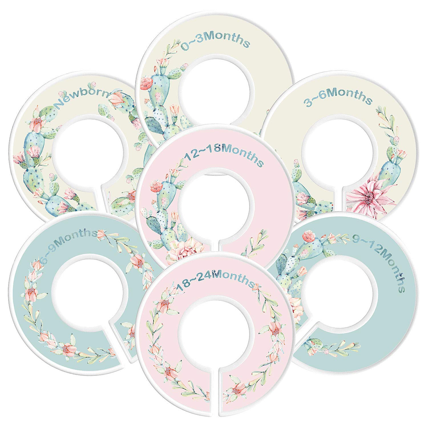 Baby Closet Dividers By Hombae– Set Of 7 Double-Sided Pattern Closet Dividers Sized From Newborn To 18-24 Months– Perfect Nursery Décor & Closet Organizer For Baby Boy & Girl– Unique Succulent Designs Hombae Ltd. Baby Closet Size Dividers