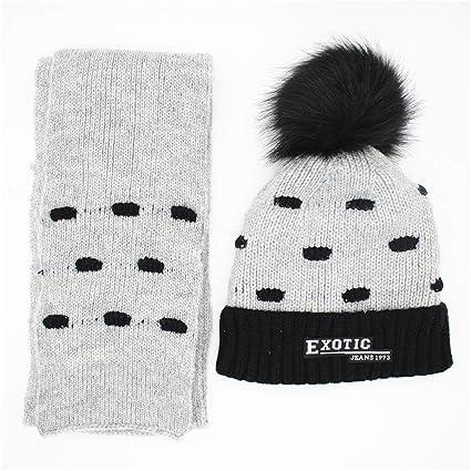 32b0c847667 Thick Warm Set Knitted Beanies Pompom Design Winter Kids Beanie Hat Scarf  Unisex 2 Pieces Winter