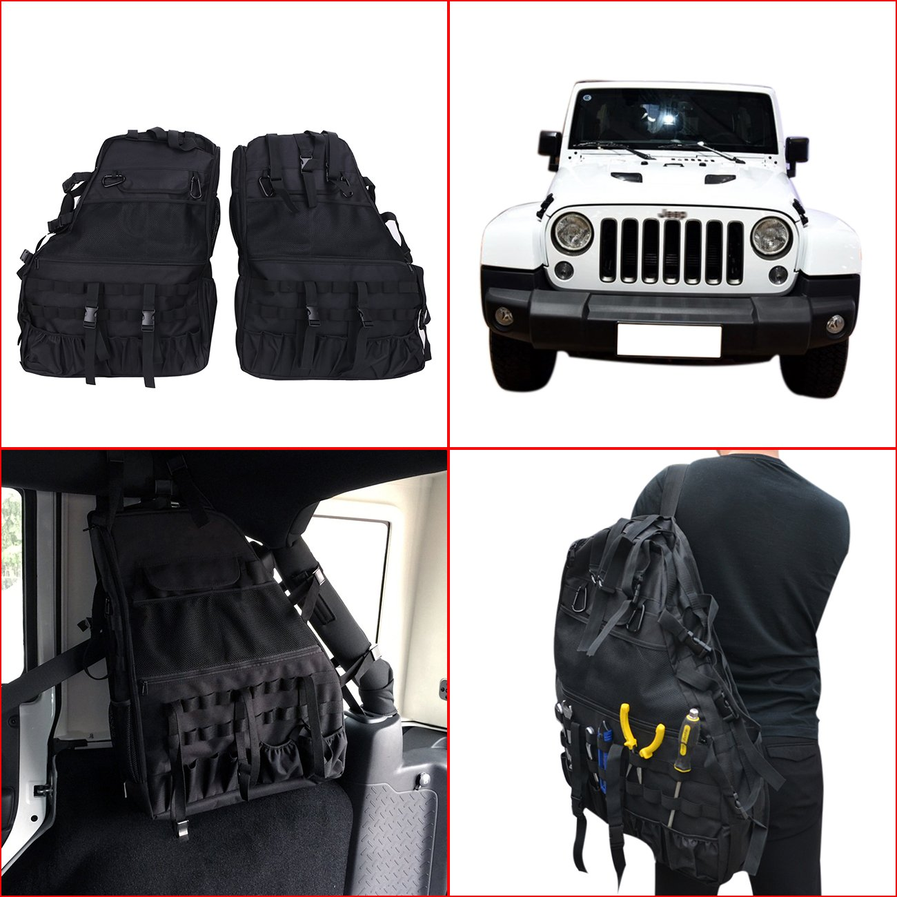 2 pcs Roll Cage Saddlebag Multi-Pockets Storage & Organizers & Cargo Bag for Jeep Wrangler JK 4-door Tool Kits Bottle Drink Phone Tissue Gadget Holder 2007-2016