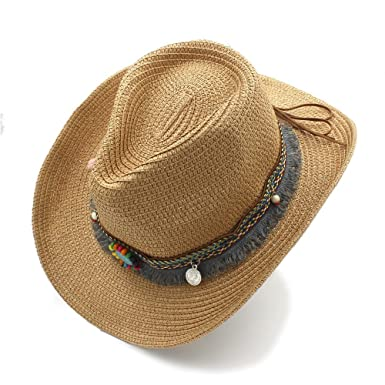 e39f85e24c0 LLPBEAU-hat Women s Men s Beach Sun Hat Summer Western Cowboy Hat Cowgirl Jazz  Cap