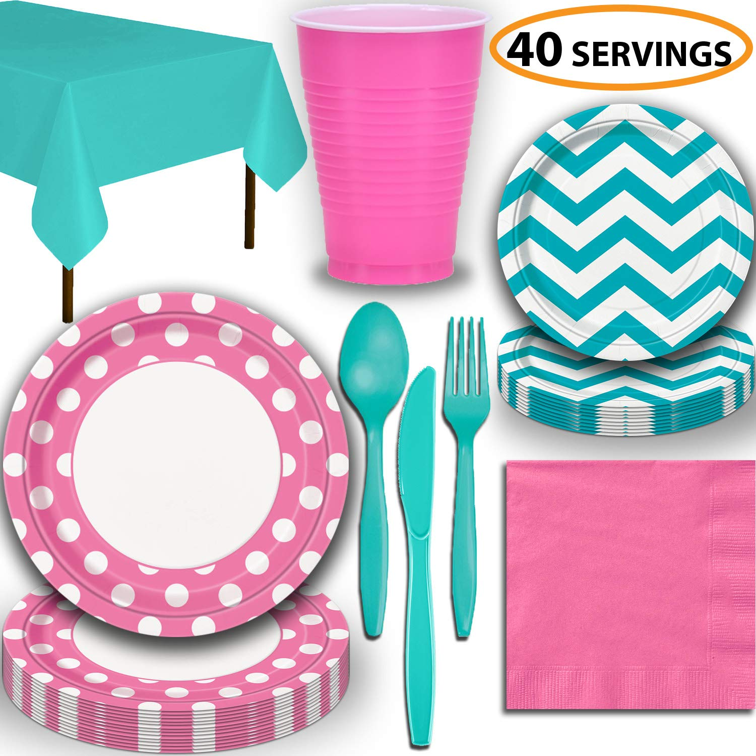 Disposable Tableware, 40 Sets - Hot Pink and Caribbean Teal - Dotted Dinner Plates, Chevron Dessert Plates, Cups, Lunch Napkins, Cutlery, and Tablecloths: Premium Quality Party Supplies Set