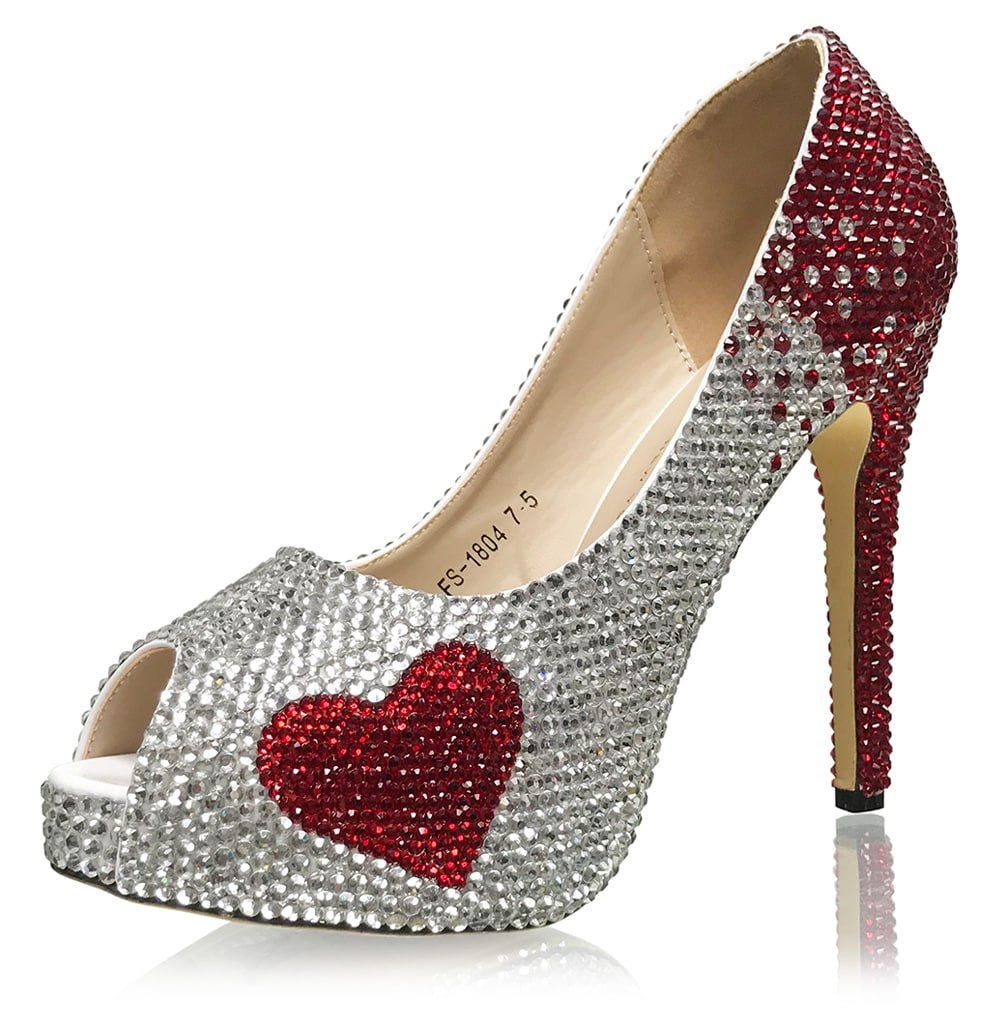 Marc Defang New York Handmade Ombre Crystals Bridal Pumps With hearts Accent (7M US)