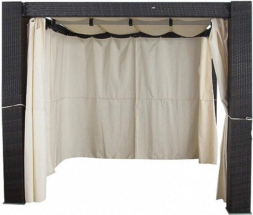 Jet-line - Pérgola Heaven II de aluminio, ratán sintético, protección para jardín, techo deslizante con cortinas laterales: Amazon.es: Jardín
