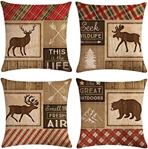 ArtSocket Set of 4 Linen Throw Pillow Covers Decroitem Retro Vintage Wildlife Elk Moose Bear Deer Pine Decorative Pillow Cases Home Decor Square 18x18 inches Pillowcases