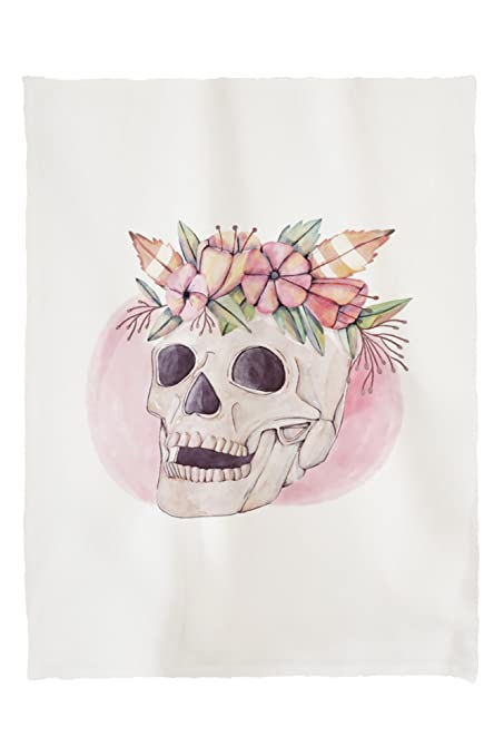 Lantern Press Skull and Flower Crown - Watercolor (60x80 Poly Fleece Thick  Plush Blanket) 444064ca8f0