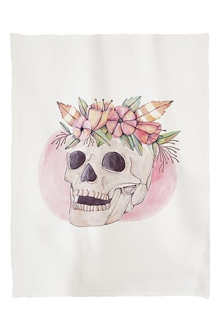 Lantern Press Skull and Flower Crown - Watercolor (60x80 Poly Fleece Thick  Plush Blanket) cfac08bd9bf