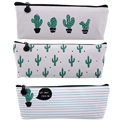 03263193700b Cactus Pastoral Bandage Canvas Pencil Case 3 PCS by Qufan,Cute Cactus  Design Multi-Functional Stationery Pencil Pouch Travelling Cosmetic Bags  Makeup ...