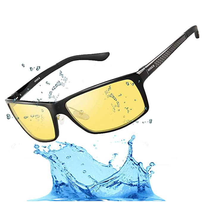 cef9aa6c00 Image Unavailable. Image not available for. Color  Men s HD Polarized Night  Driving Glasses Anti Glare Soxick Night View Sports ...