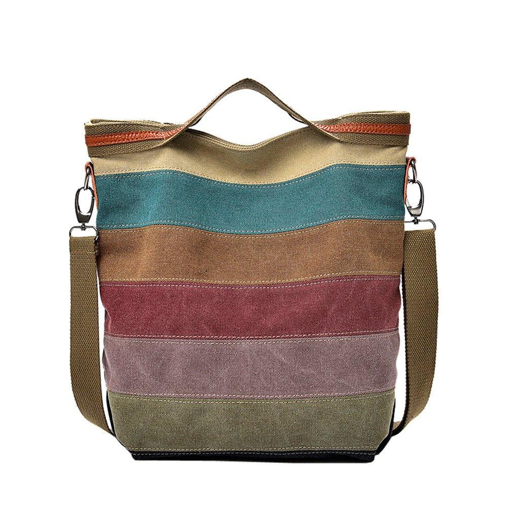 ZHANGVIP Casual Women Canvas Splice Stripes Handbag Crossbody Bag Shoulder Package Vintage Totes (Multicolor)