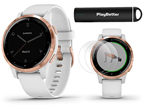 Garmin vivoactive 4S (Rose Gold/White Band) Fitness Smartwatch Power Bundle | 2019 Model | with HD Screen Protectors (x4) & PlayBetter Portable ...