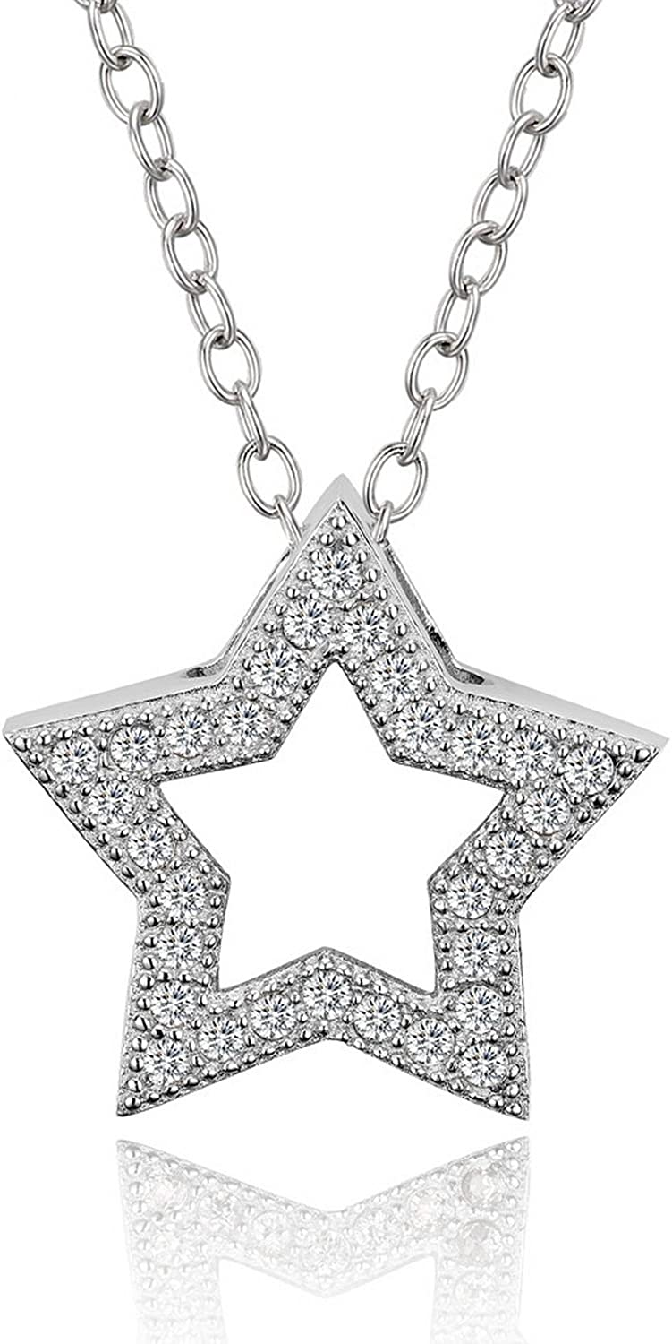 CS-DB Jewelry Silver Beautiful Shape White Zircon Stone Chain Charm Pendants Necklaces