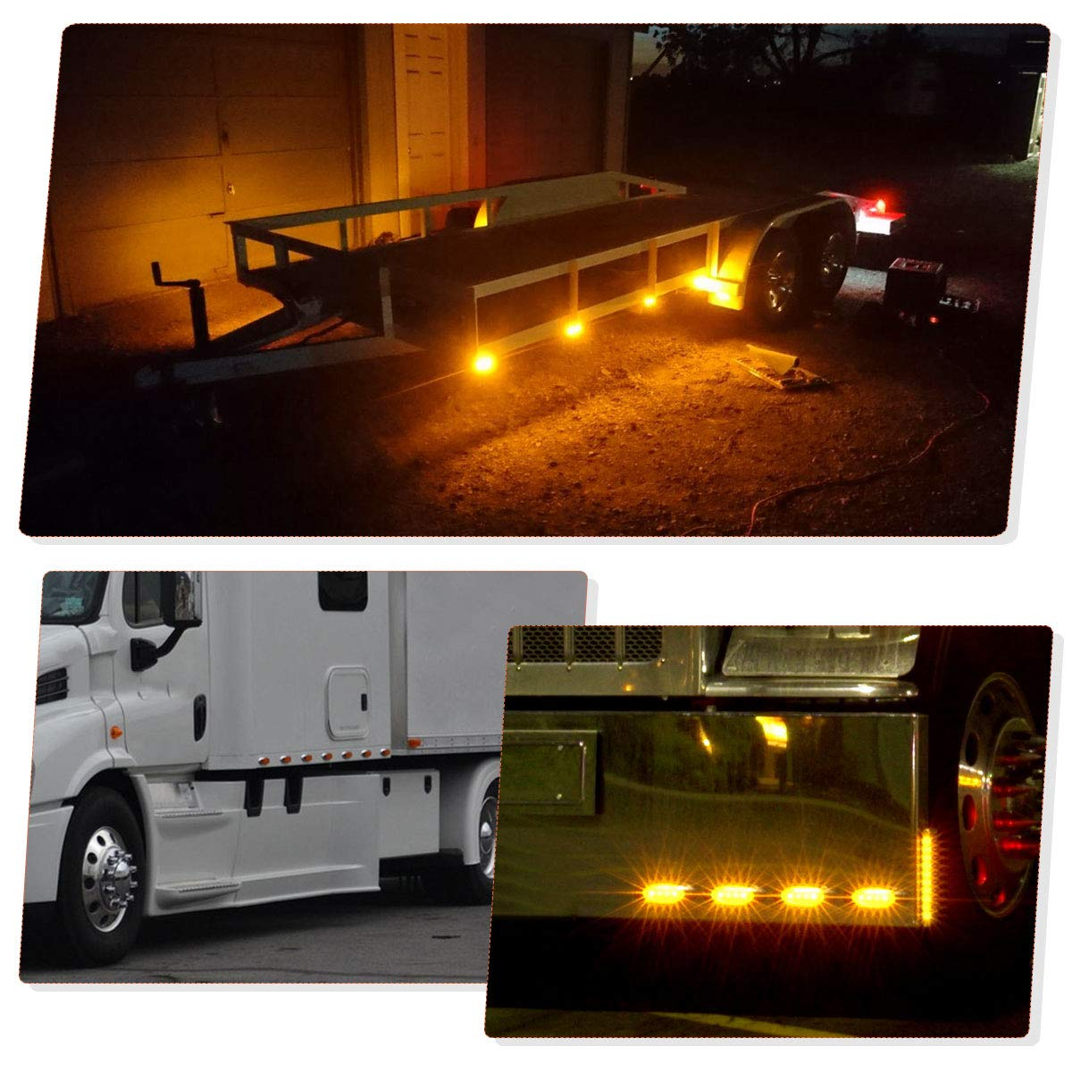 Surface Mount 12-SMD-LED Sealed Side Marker Lights YITAMOTOR 2 x Red Trailer Clearance Lights with Stainless Steel Trim Trailer Side Marker Lights